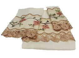 "Editex Home Curtain 3 Piece Rose GardenTowel Bath Set, 24"""