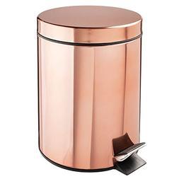 mDesign 5 Liter Round Small Steel Step Trash Can Wastebasket
