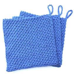 Royal Blue Square Textured Crochet Dishcloth Washcloth Set o