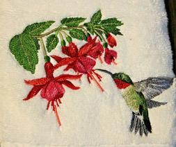 RUBY THROATED HUMMINGBIRD Beautiful WHITE BATHROOM SET HAND