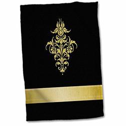 3D Rose Stylish Faux Gold Effect Damask Element On Black Bac