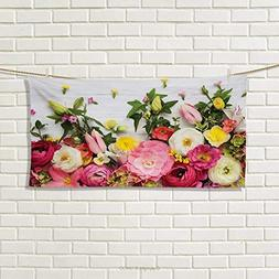 Chaneyhouse Rustic,Hand Towel,Bunch of Flowers Ranunculus on