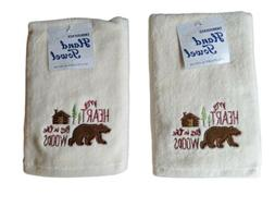 Rustic Bear Hand Towels Set of 2 Rustic My Heart Lies in the