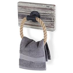 MyGift Rustic-Industrial Wall-Mounted Torched Wood & Rope To