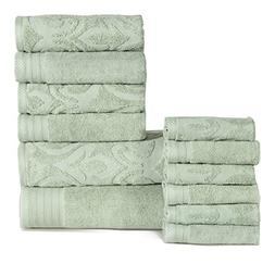 12 Piece Sage Jacquard Textured Towel Set With 28 X 54 Inche