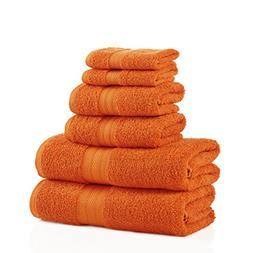 6 Piece Sandstone Border Stripe Towel Set With 27 X 54 Inche