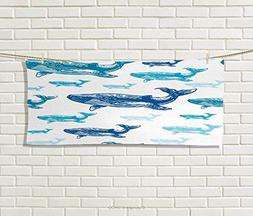 Anniutwo Sea Animals,Hand Towel,Colorful Realistic Engraved