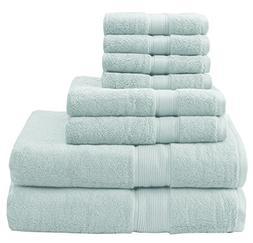 8 Piece Seafoam Solid Color Towel Set With 30 X 54 Inches Ba