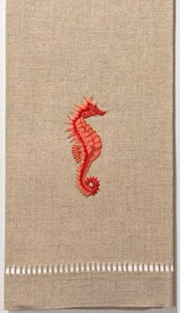seahorse red hand towel