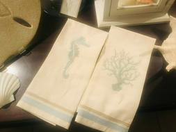 pottery barn sealife embroidery guest hand towels nautical b