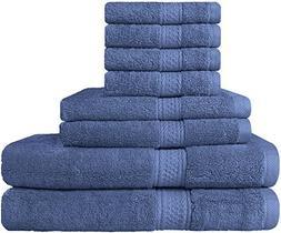 8 Piece Towel Set ; 2 Bath Towels, 2 Hand Towels & 4 Washclo