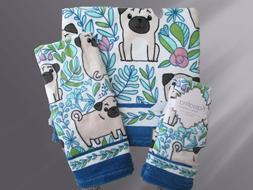 Set 5 Kassafina Home Pug Dog Bath Hand Fingertip Towels Bath