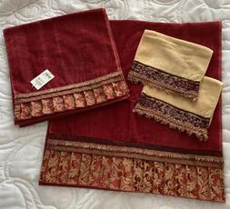 Set 6 Avanti Linens Empress Ming Red 3 Hand 1 Bath 2 Face Fi