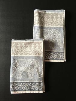 Set of 2 Peri Home 100% Cotton Hand Towels - Gray & White El