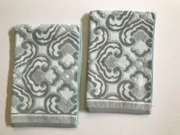 Set of 2 Beau Monde Damask Print Hand Towels - Gray White Bl