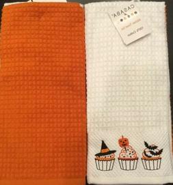 Set Of 2 Halloween Embroidered Cupcakes Pumpkin Kitchen Dish