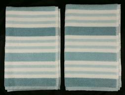 Set of 2 Caro Home Hand Towels - Aqua Blue Teal White Stripe