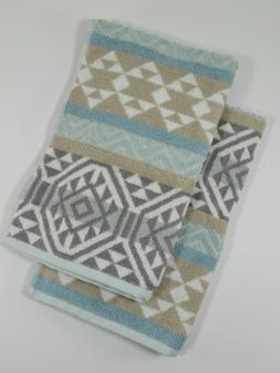 Set of 2 Beau Monde Hand Towels - Aztec Pattern - Beige Gray