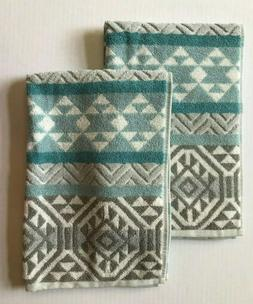 Set of 2 Beau Monde Hand Towels - Aztec Pattern - Gray White