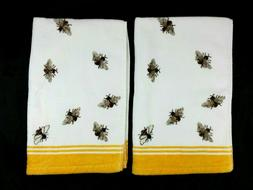 Set of 2 Caro Home Hand Towels - Bee Pattern - White Yellow