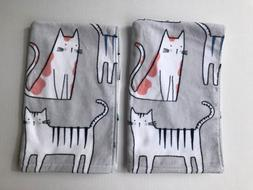 Set of 2 Artisan NY Home Hand Towels - Cat Print - Gray with