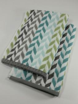 Set of 2 Peri Home Hand Towels - Chevron Pattern - Aqua Blue