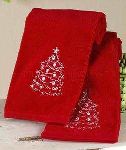 Set Of 2 Hand Towels Christmas Tree Red Holiday Chalkboard L
