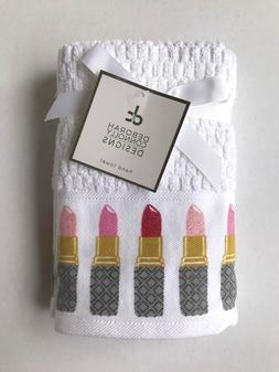 Set of 2 Deborah Connolly Hand Towels Colorful Glitter Lipst