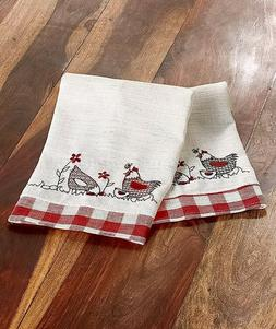 SET OF 2 HAND TOWELS COUNTRY PLAID HENS CHICKEN KITCHEN RUST