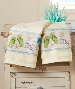 Set Of 2 Hand Towels Flip-Flop Bathroom Beach Ocean Summer H