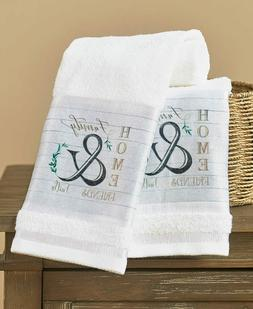 Set of 2 Hand Towels Home Friends Country Farmhouse Bathroom