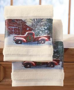 Set of 2 Hand Towels Home Holiday Country Truck Barn Christm