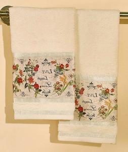 Set Of 2 Hand Towels Live Laugh Love Flower Floral Design Ba