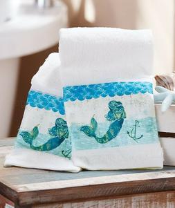 Set Of 2 Hand Towels Mermaid Anchor Sea Ocean Blue Bathroom