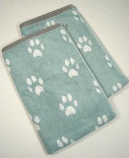 Set of 2 Peri Home Hand Towels - Pet Dog Paw Print - Aqua Wh