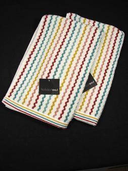 Set of 2 Luxe Habitat Hand Towels - Striped - Aqua Yellow Pi