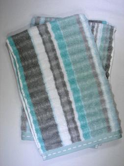 Set of 2 Caro Home Hand Towels - Turquoise Seafoam Green Gra