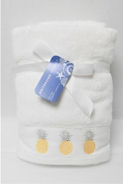 Coastal Collection Set of 2 Hand White Towels Embroidered Go
