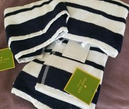 Set of 2 Kate Spade Harbor Stripe Navy White Hand Towels NEW