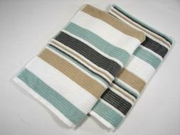 Set of 2 Casaba Striped Hand Towels - Seafoam Green Gray Bei