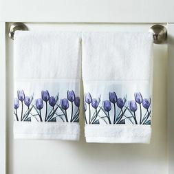 Purple Tulip Hand Towels for Bathrooms - Floral Restroom Dec