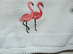 Sage Island Spa Set of 2 White Hand Towels Embroidered Flami