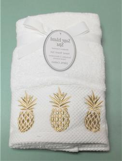 Sage Island Spa Set of 2 White Hand Towels Embroidered Gilde