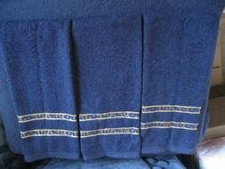 Set Of THREE~ Dark Blue ~ Kitchen Dish Hand Towels Cloths by