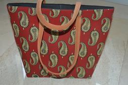 Shoulder Bag Women's Beach Towel Bags Cotton Red Paisley Han
