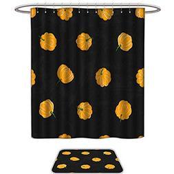 Shower Curtain and Mat SetCartoon pumpkins seamless pattern