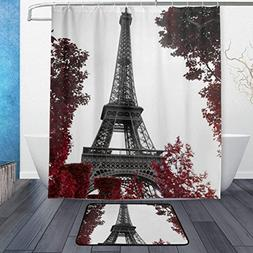 Shower Curtain and Door Mat Set Red Tree And Eiffel Towel Wa