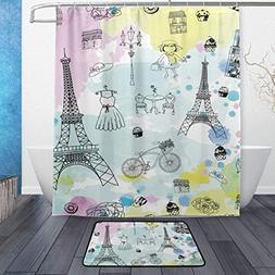 Shower Curtain and Door Mat Set Watercolor Paris Eiffel Towe