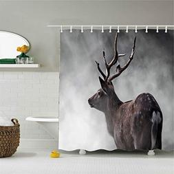 Colivy Shower curtain lovely reindeer grey Thickening polyes