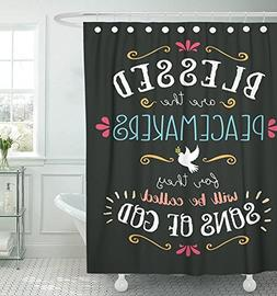 """Emvency Shower Curtain 72""""x72"""" Polyester Fabric Blessed Are"""